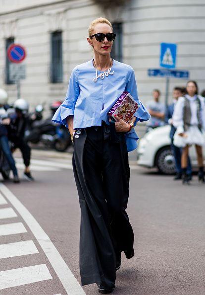 Elina Halimi is seen outside Alberta Ferretti during Milan Fashion Week Spring/Summer 2017 on September 21 2016 in Milan Italy
