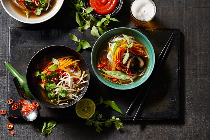 Vegetarian pho with shiitake mushrooms - actually vegan.
