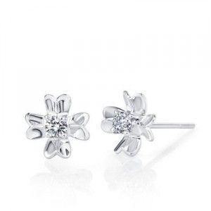 Flower Diamond Earrings on 10K White Gold
