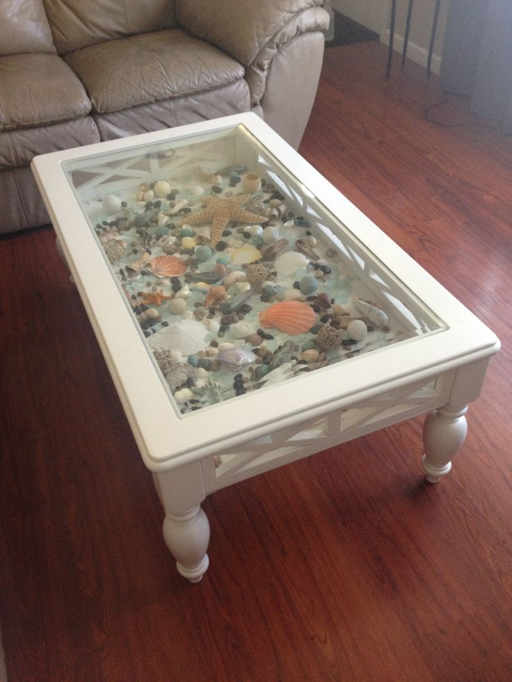Cute Diy Home Decor Ideas: White Coffee Table That I Added A Bottom To And Filled