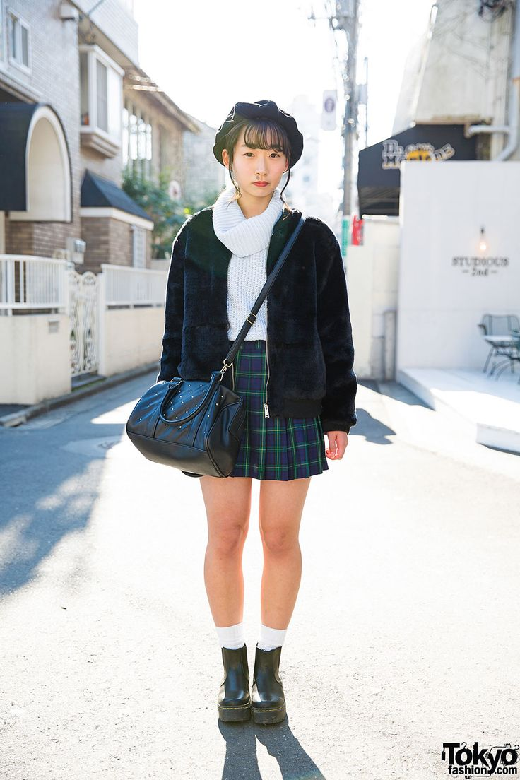 Harajuku Girl In Beret Plaid Skirt Amp Ankle Boots W Wego