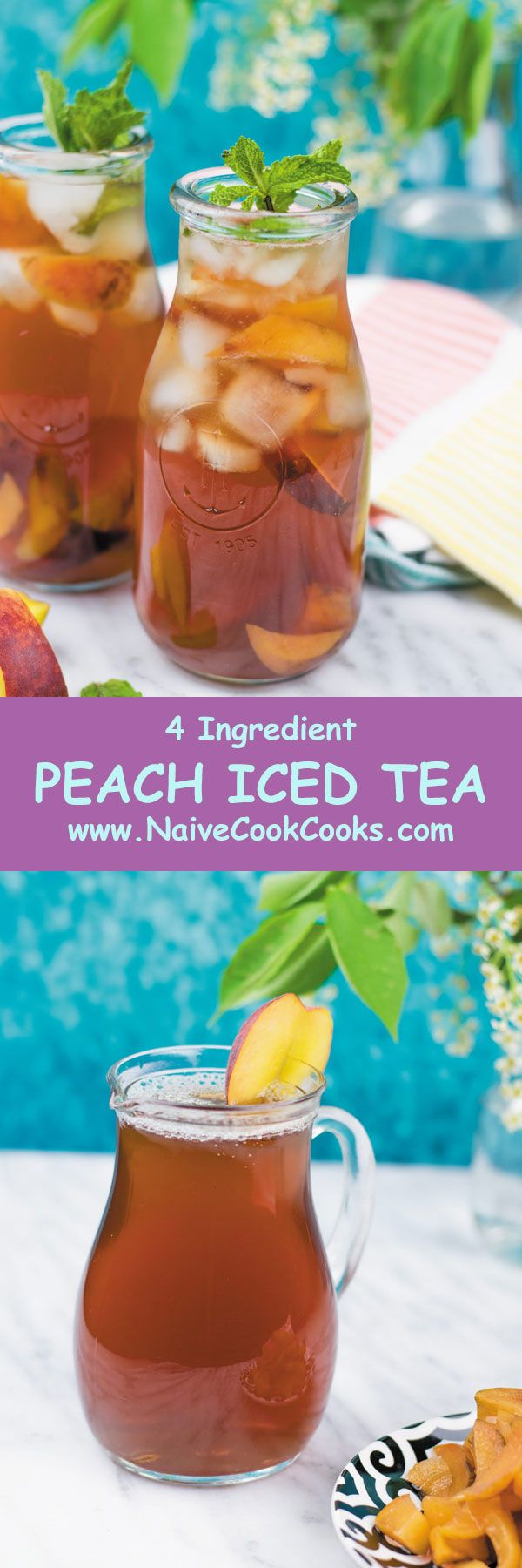 FRESH PEACH ICED TEA - perfect summer drink made using fresh peaches, no funny stuff and this lasts for few days in fridge!