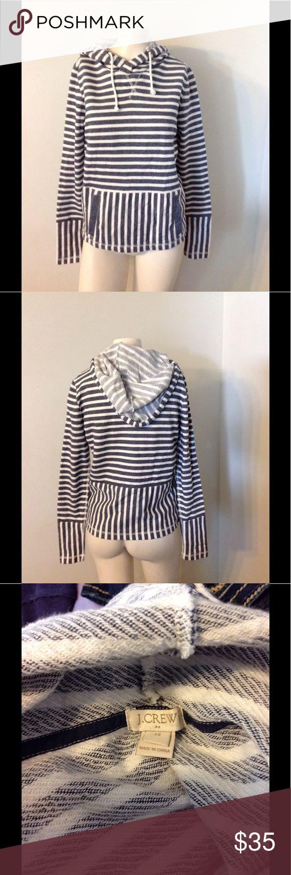 J. Crew Striped Nautical Hoodie XS Very nice J. Crew striped hoodie. Made of 100% cotton in size XS. From Sp 16. Great condition J. Crew Tops Sweatshirts & Hoodies