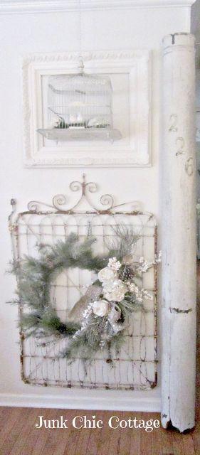 Love the vintage garden gate and winter wreath
