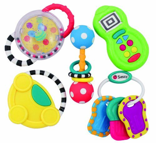 Sassy 5 Piece Developmental Toy Gift Set, 6 Month+