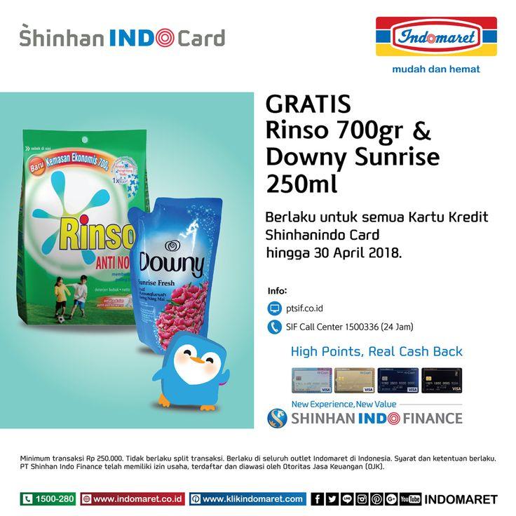 Belanja Rp 250.000 dengan Kartu kredit Shinhan Indocard di Indomaret GRATIS Rinso 700g & Downy Sunrise 250ml. Syarat & Ketentuan berlaku.
