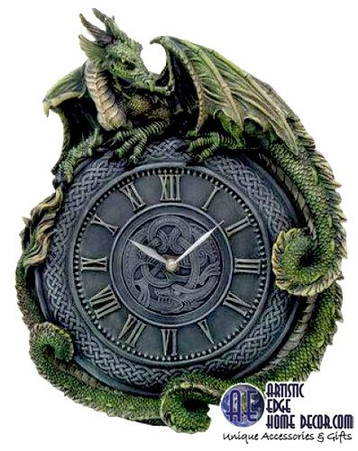 """Green Dragon Celtic Clock Hand painted and made of cold cast resin. Great detail on dragon. 14"""" Long Price: 89.45 CDN Available on our upcoming eCommerce site before Aug 31st this month."""