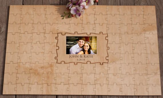 Wooden Wedding Guestbook Alternative Photo by WoodenWeddingPuzzles, $179.00