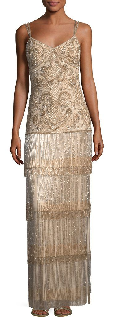 "Beaded Fringe Column Tiered Long Evening Gown by Aidan Mattox. Aidan Mattox beaded fringe long evening gown. Approx. 49.3""L down center back. Sweetheart neckline; square back. Sleeveless; double-spaghetti straps. Beaded bodice. Column silhouette. Tiered fringe skirt. Hidden back zip. Floor-length he... #aidanmattox #dresses #gowns"