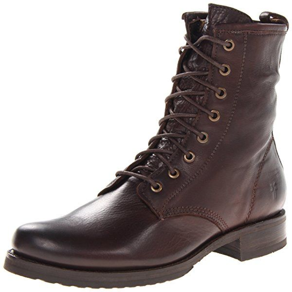 FRYE Women\u0027s Veronica Combat Boot, Dark Brown Soft Vintage Leather, M US -  Veronica Combat-sft Vn Le - SHOES - FRYE delivers strength and style in  this ...