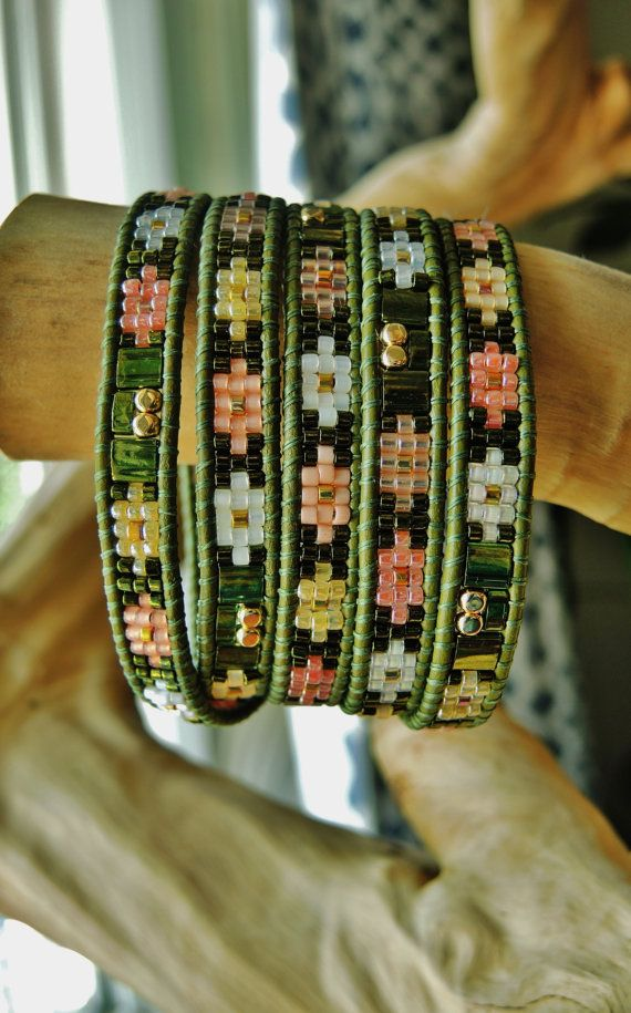 FOREST STAGE 5 Wrap Olive Leather Bracelet featuring Japanese Miyuki 24K Gold, Metallic Olive & Pastel Delica/Tila Beads, Gold Toggle Button...