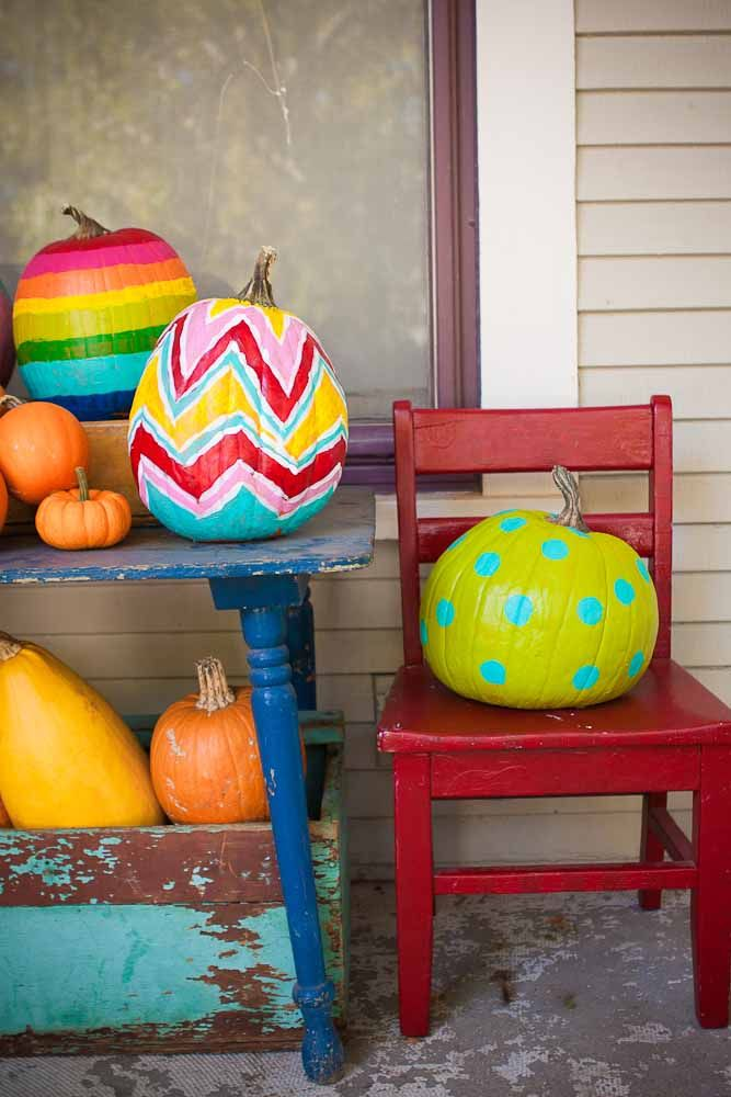 painted pumpkinsIdeas, Painting Pumpkin, Polka Dots, Halloween Pumpkin, Fall Halloween, Pumpkin Decor, Painted Pumpkins, Pumpkin Painting, Bright Colors