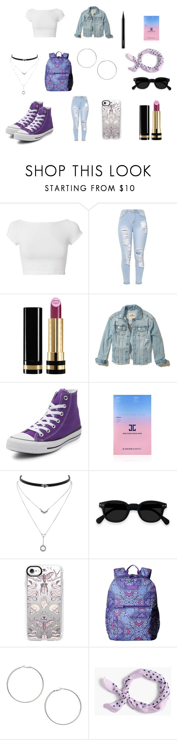 """Lilac"" by lasaraleen ❤ liked on Polyvore featuring Helmut Lang, Gucci, Hollister Co., Converse, JayJun, Jessica Simpson, Casetify, Vera Bradley, Miss Selfridge and J.Crew"