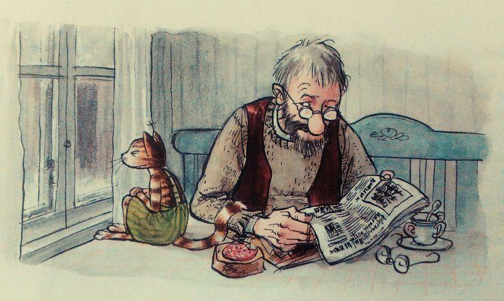 """""""Morgen, Findus, wird's was geben!"""" (1995) Sven Nordqvist -.Pettson och Findus (Pettersson und Findus)."""