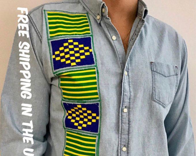 Kente Ankara Dashiki shirt African Ethnic Tribal shirt kitenge Rasta reggae african print shirt Jamaican embroidered blue jean shirt