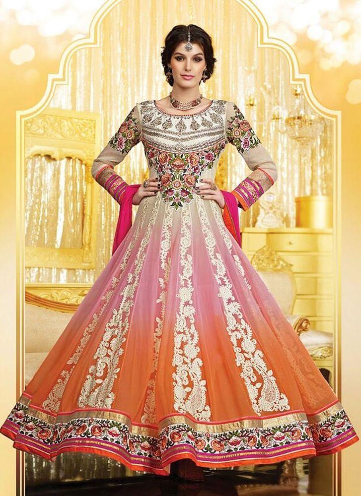 Designer Anarkali Salwar Kameez Suit Pakistani Traditional Indian Dress Material #FashionEthnic #Ethnic