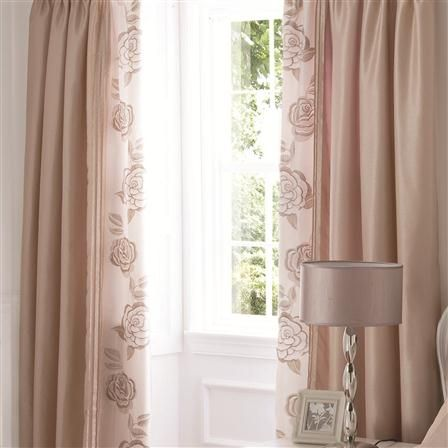 Lansfield Pair Of Deco Rose 168x182cm Curtains, Gold