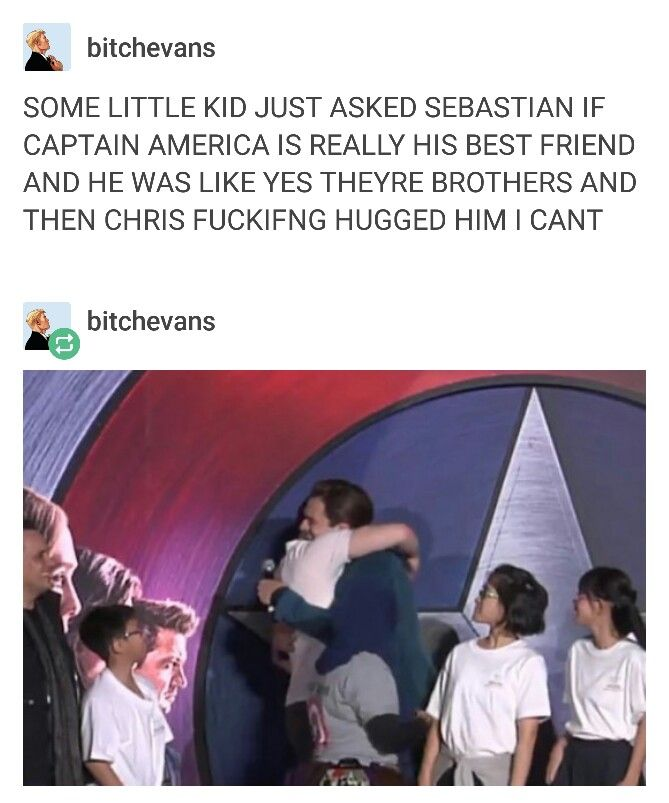2016 Beijing:  #civilwar #chrisevans #sebastianstan | we may never get the hug in a movie but at least we have these wonderful guys who hug in real life