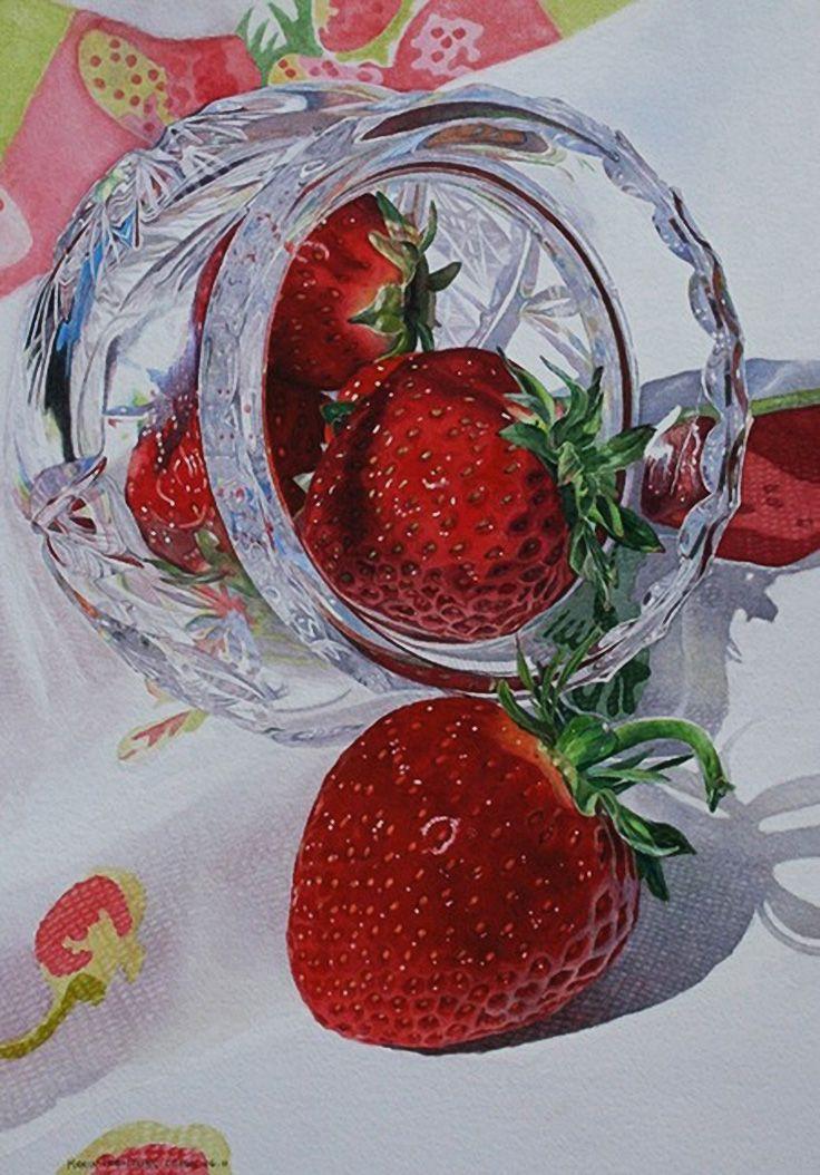 """Strawberries and Crystal"" - Karin Isenburg, watercolor {contemporary art fruit still life painting}"
