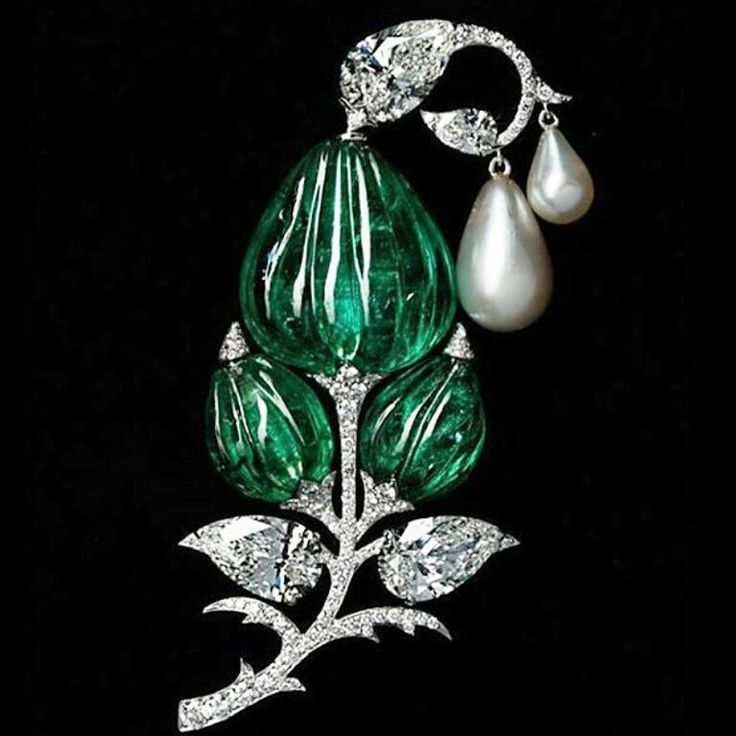 Mughal-inspired flower brooch by Viren Bhagat, with carved emeralds, diamonds and pearls set in platinum