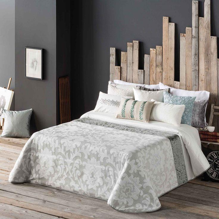 Set de colcha y dos fundas de cojín gris Mai, cama 150 cm | ACHICA
