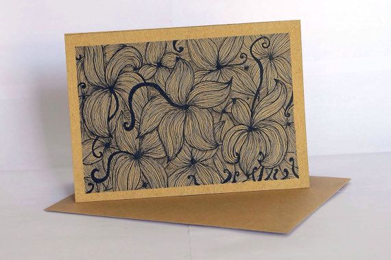 Handmade greeting card style GC004 set of 3 - ethnic abstract drawing - all occassion