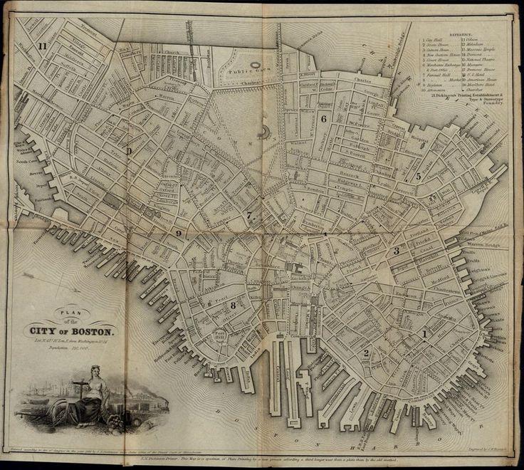 Boston Massachusetts City Plan decorative vignette 1844