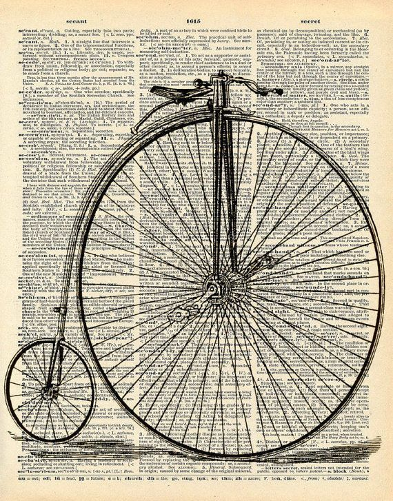 Vintage Dictionary Print - Penny Farthing Bicycle - Upcycled Antique Book Print - Vintage Bike - Victorian Steampunk Recycled Art