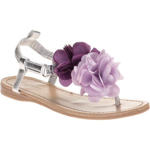 little girls silver and lavender shoes | Faded Glory Girls' Annabelle Flower Embellished Sandals