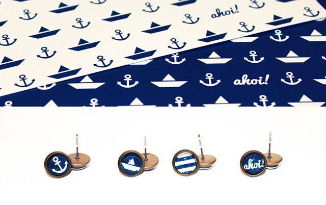 Kostenlose Cabochon Vorlage mit maritimen Motiven zum selbst Ausdrucken. Mit Schmuckrohlingen werden so hübsche Schmuckstücke selbst gebastelt.