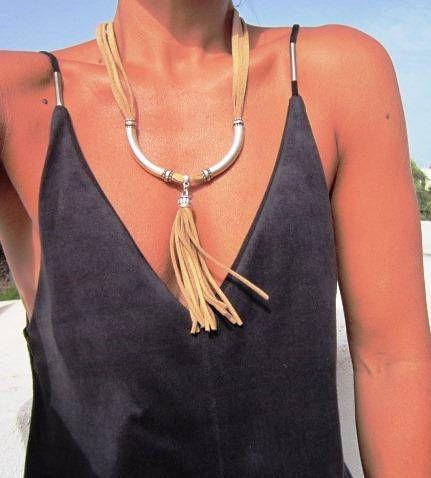 collares para las mujeres largos collares de cuero borla