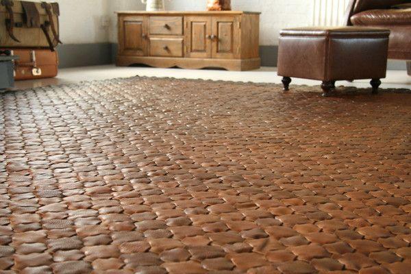 Large Caramel Leather Rug | vinterior.co