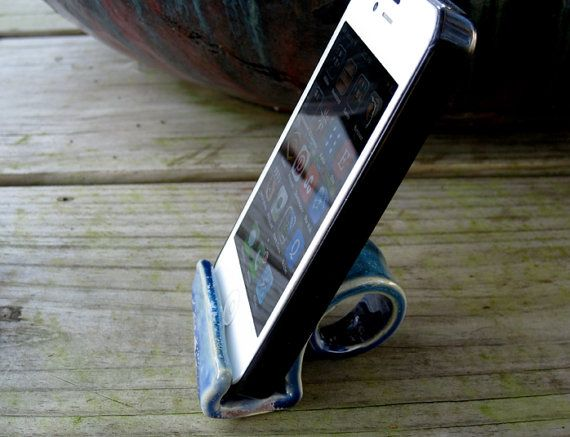 This is a one of a kind handmade pottery phone display for your desk or anywhere you need to rest your phone. With the phone on its side you