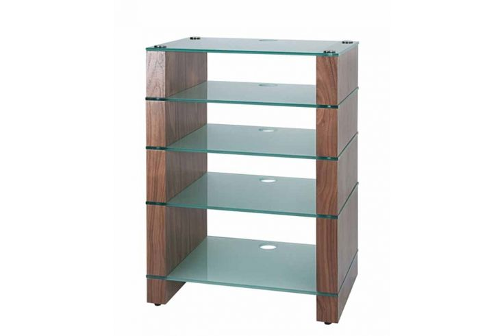 STAX 500 Five shelf Hi-Fi Stand Natural Walnut with Etched Glass