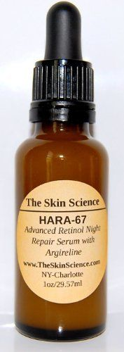 Retinol, Argireline & Hyaluronic Acid Advanced Night Repair by Skin Science. $28.50. Pure Hyaluronic Acid to plump and moisturize. Potent Retinol Age Correcting Serum. NO FILLERS or PARABENS. Proven Ingredients that offer outstanding results. Argireline to relax lines and wrinkles. HARA-67 is a unique formulation of pure Retinol, Argireline and Hyaluronic Acid. These are the Trinity of superior anti aging. This product contains no additional ingreients or fillers. ...
