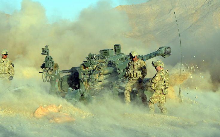 Obusier, soldats, guerre, armes