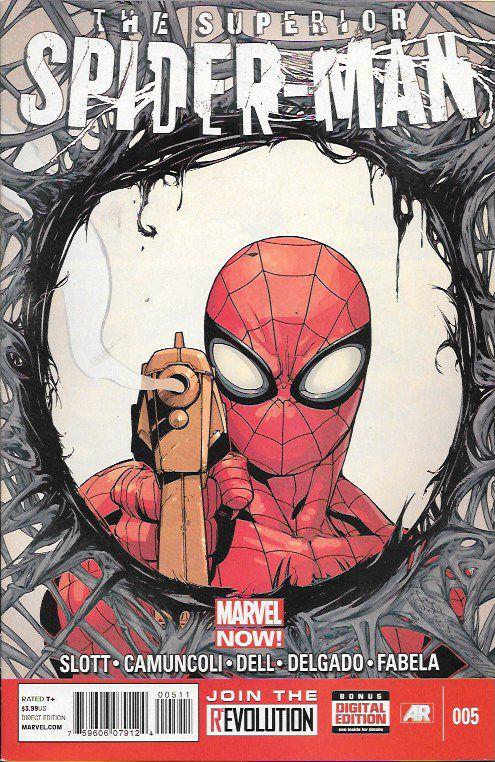"""""""Emotional Triggers"""" __Written By Dan Slott , Art And Cover Giuseppe Camuncoli , How many have to die before the Superior Spider-Man will kill a super villain? Spider-Man versus Massacre-- with hundre"""