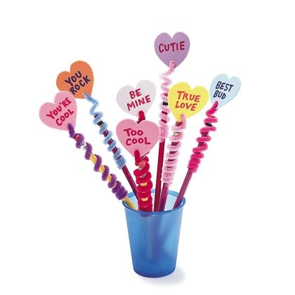 Valentine Pencil Toppers  Just like their edible cousins, these foam conversation hearts will let your child get right to the point of her Valentine's messages.