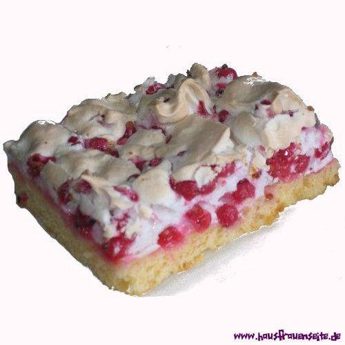 Johannisbeer-Blechkuchen mit Baiser Johannisbeer-Blechkuchen mit Baiser ist ein Rezept für Johanissbeerkuchen mit Mürbeteig vegetarisch