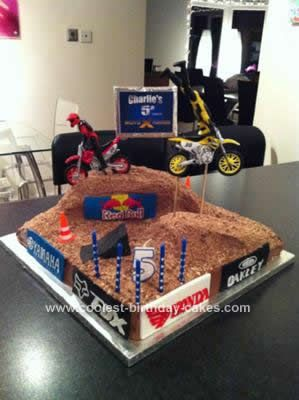 Homemade Motocross Stunt Bike Cake: My little boy decided that for his 5th birthday cake, he wanted a 'Redbull X-Fighters' style birthday cake. This wasn't something I was hugely familiar