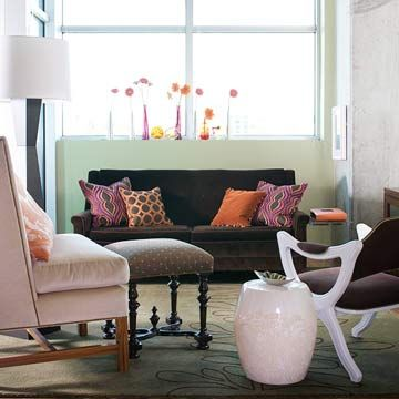 Celadon + MinkCeladon Green, Furniture Arrangement, Colors Combos, Color Schemes, Sitting Room, Small Spaces, Living Room Furniture, Decor Colors Schemes, Pink Bathroom