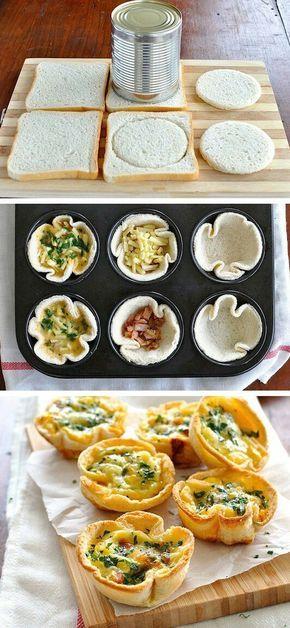 Aus normalen Toasts werden Kreise ausgestochen, die dann in einer Muffinform mit Käse, Speck und Ei gefüllt werden.