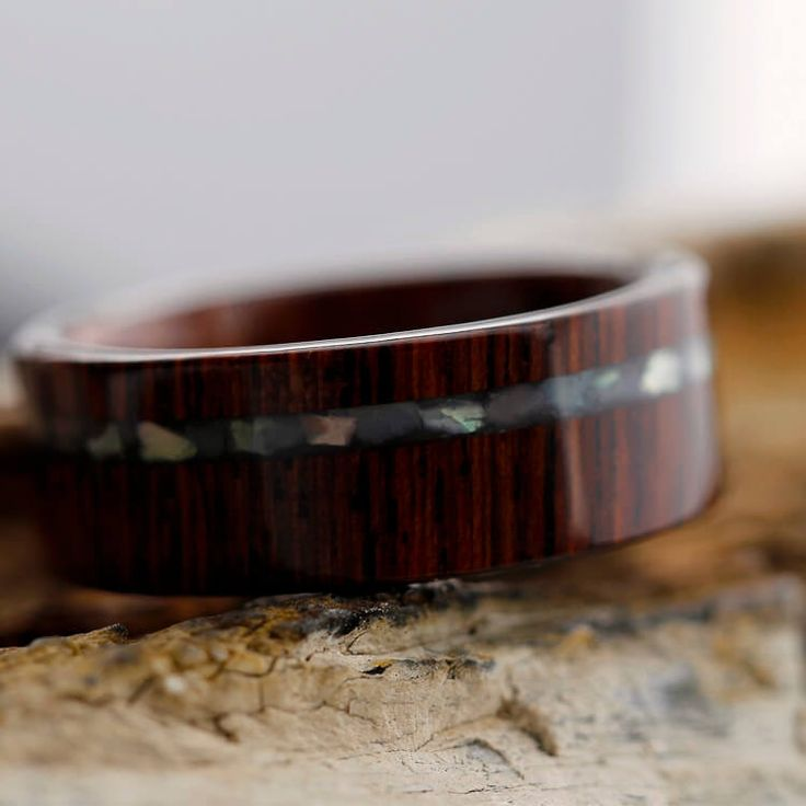 Honduran Rosewood Wedding Band With Crushed Mother Of Pearl Pinstripe-2372