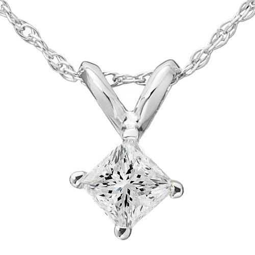 Real de corte de diamante .50CT princesa colgante de oro