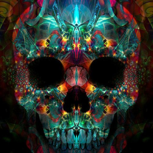 Kaleidoscope-inspired colorful skull by Ordoab