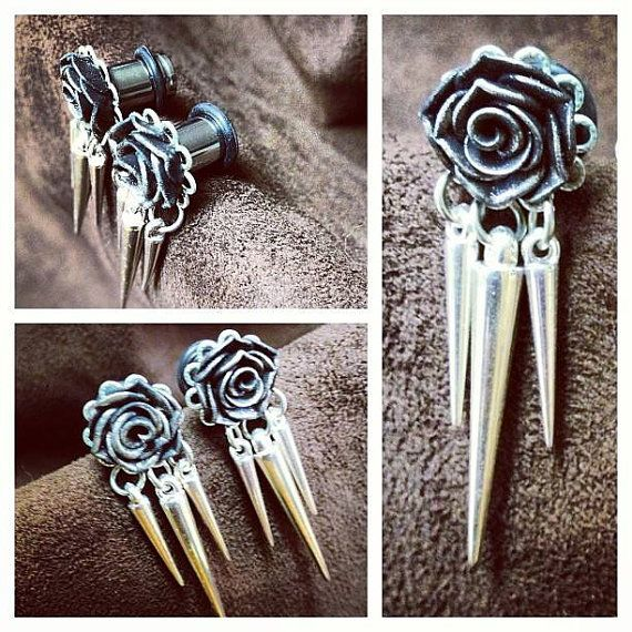 Rosebud Plugs - Earrings for Stretched Lobes - Spike Dangles with Filigree on Etsy, $35.00