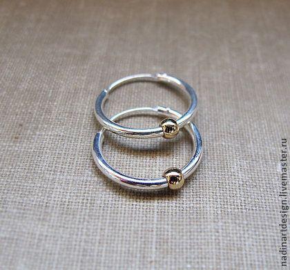Маленькие серебряные серьги-кольца для всех видов пирсинга - серебряный