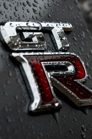 Nissan GT-R logo close-up.