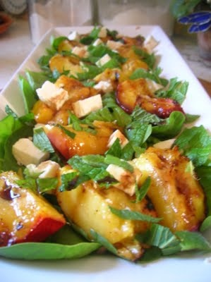 """Recipe for """"Grilled Peach Salad with Feta and Mint"""""""