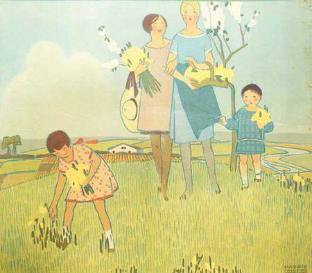 """a cueillette des fleurs. Crédit: Librairie Chrétien. Extrait du catalogue de l'exposition """"Mon enfance illustrée"""". Ce panneau décoratif fait partie d'une série de quatre planches proposées par Fernand Nathan pour la décoration murale des salles de classe en 1928."""